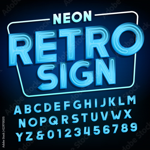 Retro sign alphabet  Blue neon tube type letters and numbers