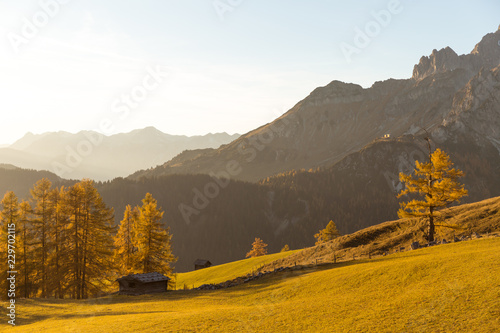 Beautiful autumn landscape with fall colored larch trees and little alpine hut at sunset