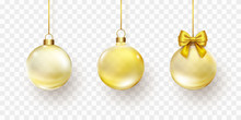 Christmas Balls With Golden Ri...