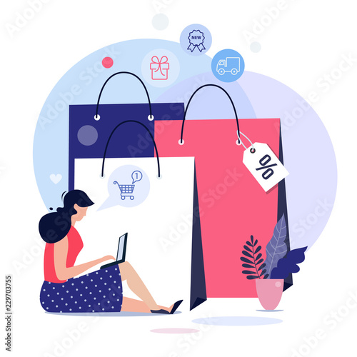 Fototapeta Online shopping concept illustration, web templates, flat design vector poster obraz
