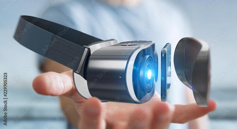Fototapeta Businessman using virtual reality glasses technology 3D rendering