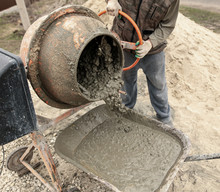 Mixing Of Concrete In A Concrete Mixer