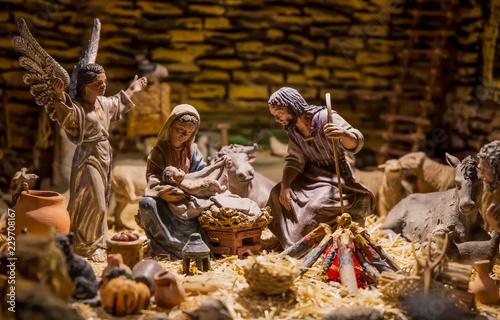 Pesebre de Navidad con José ,María y José.