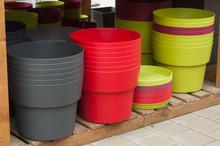 Closeup Of Plastic Pots In Gardening Store