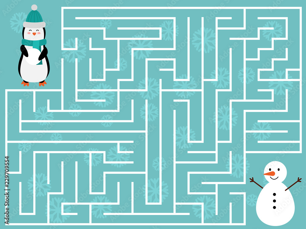 Fototapeta Winter educational maze game for kids. Help the penguin find the right way to the snowman. Christmas and New Year labyrinth. Flat design illustration.