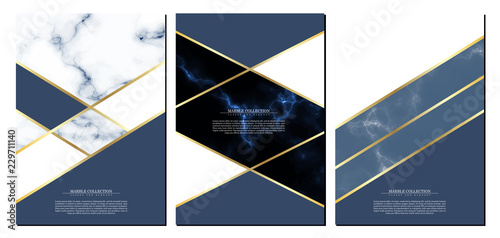 Cuadros en Lienzo Marble collection abstract pattern texture navy blue background template illustr