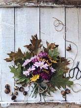 Autumn Bouquet Of Flowers On A Wood Table With Acorns And Scissors