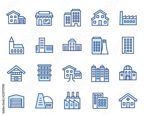 Valokuvatapetti Häuser, Gebäude & Anlagen Vector Icon Illustration Set