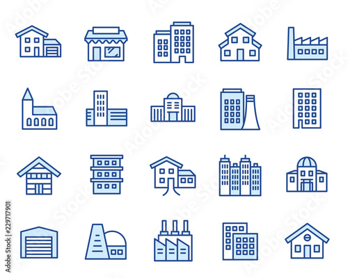 Häuser, Gebäude & Anlagen Vector Icon Illustration Set Fototapete