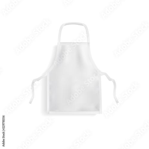 Fototapety, obrazy: Realistic white kitchen apron isolated on white background. Vector mockup.