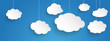 Hanging Paper Clouds Blue Sky Banner