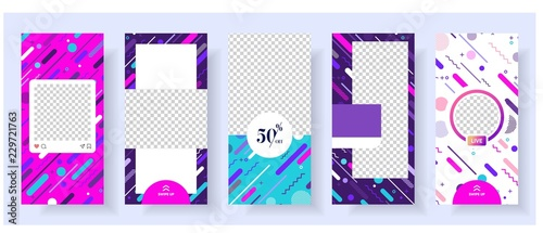 Fotografie, Obraz  instagran stories template with cool memphis background vector illustration