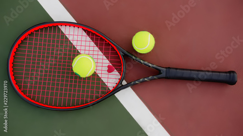 Fototapeta Tennis racket with balls on green and red background