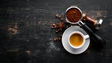 Espresso Coffee On A Wooden Ba...