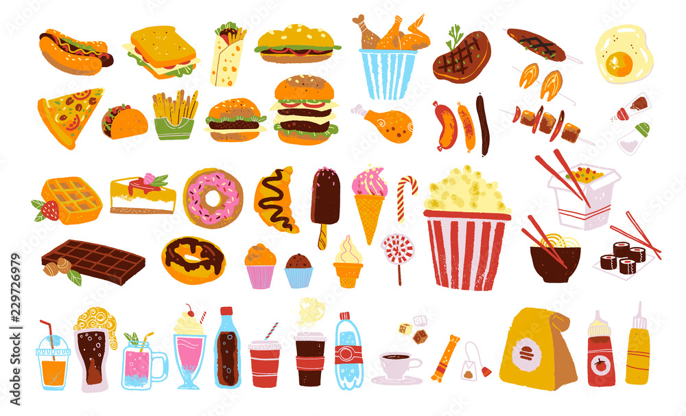 Fototapety, obrazy: Big vector fast food & snack set isolated on white background: burger, dessert, pizza, coffee, chicken, wok, beef etc. Hand drawn sketch style, chalkboard drawing. Good for menu, special offer design.