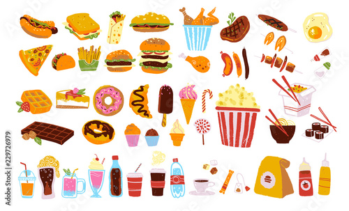 Fotografie, Obraz Big vector fast food & snack set isolated on white background: burger, dessert, pizza, coffee, chicken, wok, beef etc