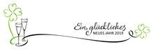Neujahr Gruß 2019 Banner - Sekt Und Klee, Stilisiert Mit Kalligraphie