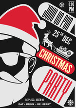 Christmas Party Invitation, Flyer Or Poster Design With Santa Claus Hat, Beard And Glasses. Vector Illustration.