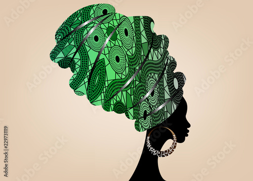 Staande foto Kameleon portrait beautiful African woman in traditional turban, Kente head wrap African, Traditional dashiki printing, black women vector silhouette isolated with traditional earrings, Afro hairstyle concept