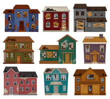 Flat Vector Set Of Abandoned H...