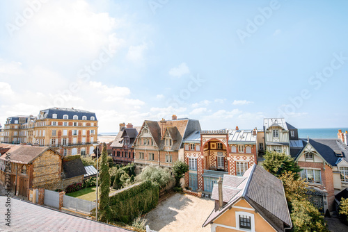 Poster Europese Plekken Rooftops of the luxury houses near the beach in Trouville, famous french resort in Normandy