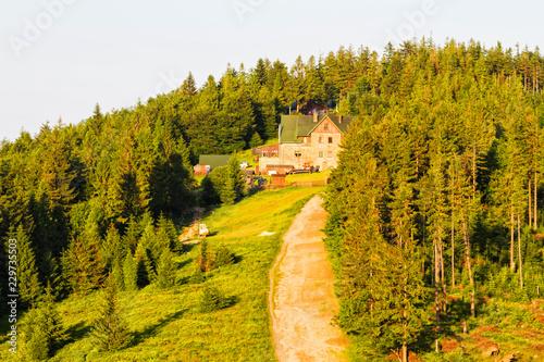 Fotografie, Obraz  View of Klimczok peak with a mountain hostel on it