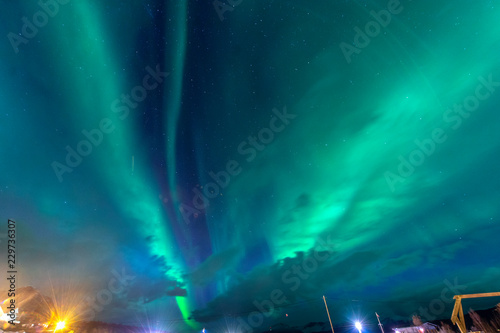 Poster Aurore polaire The polar lights in Norway .Vikran,Tromso