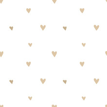 Seamless Pattern Of Hand-drawn Beige Hearts On A Transparent Background. Vector Image For A Holiday, Baby Shower, Birthday, Valentine's Day, Wrappers, Prints, Clothes, Cards, Banner, Textiles.