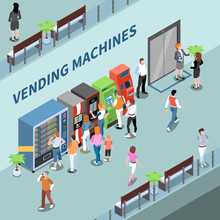 Vending Machines Consumers Isometric Composition