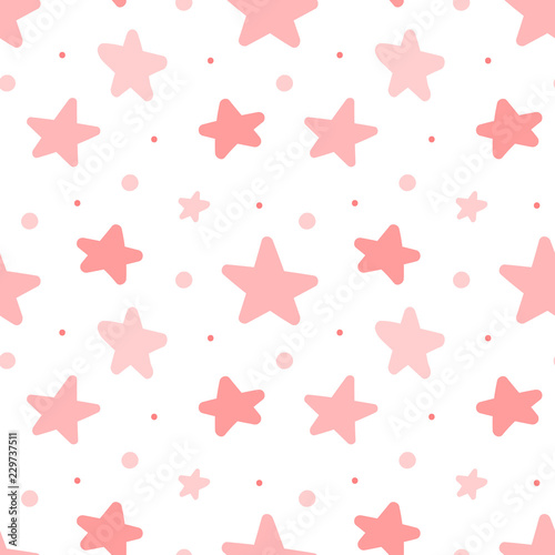 Seamless Pattern Of Pink Stars Concept For Baby Shower Birthday