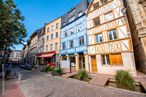 Beautiful colorful half-timbered houses in Rouen city, the capital of Normandy region in France