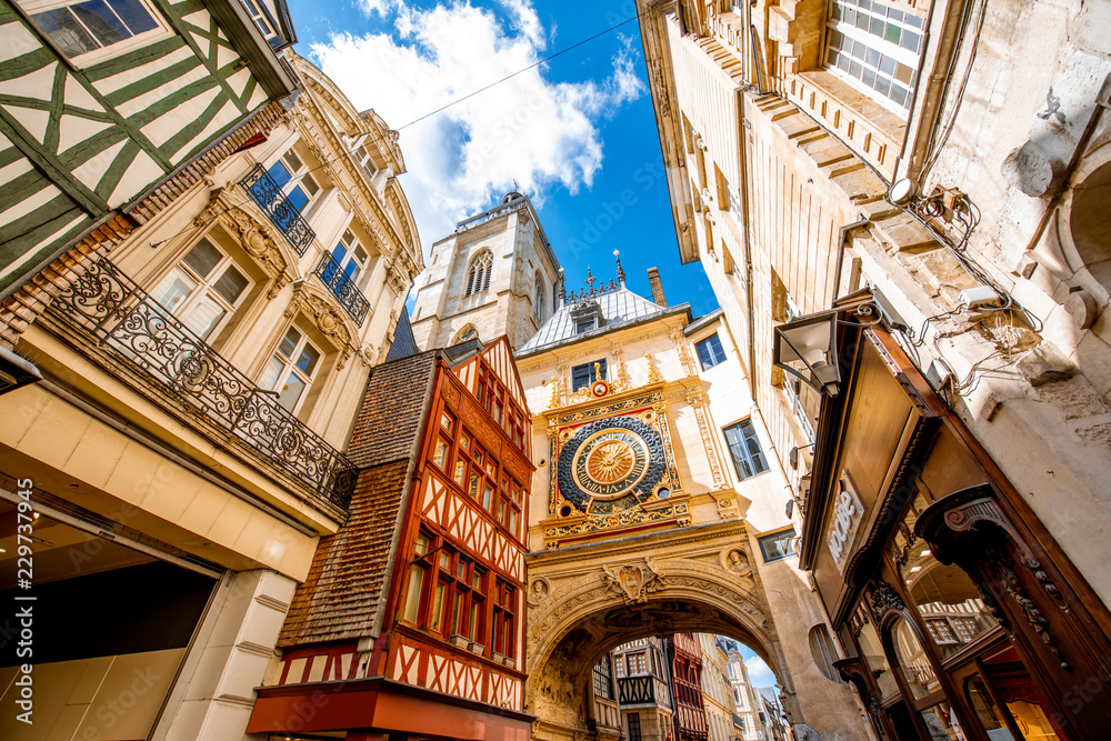 Fototapety, obrazy: Street view with famous Great Clock astronomical clock in Rouen, the capital of Normandy region in France