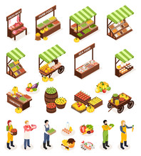 Farmer Market Isometric Icons ...