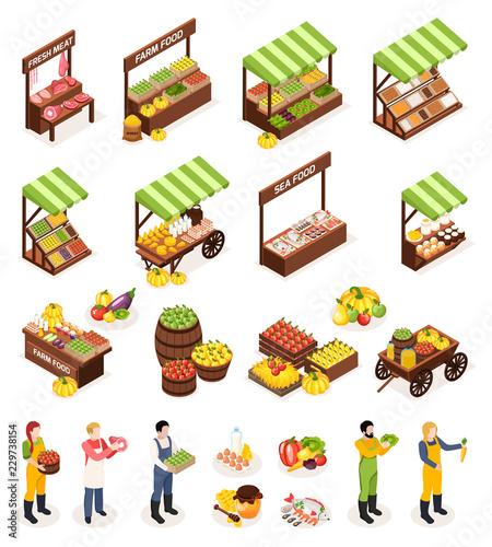 Fotomural Farmer Market Isometric Icons Set