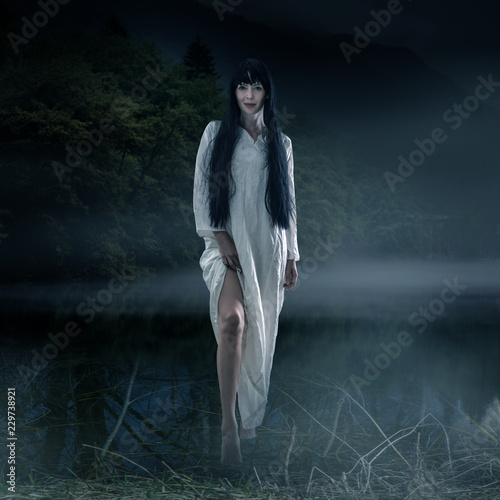 Halloween scary brunette woman with long hair Canvas Print
