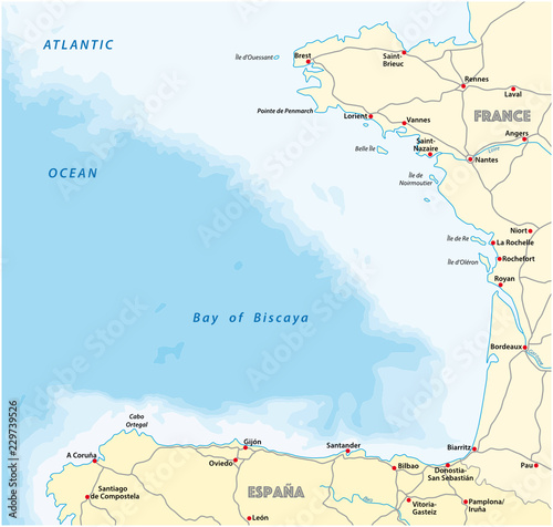 Map Of Spain France Border.Bay Of Biscaya Vector Road Map Spain France Buy This Stock