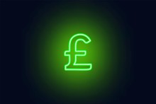 Neon Pound Sterling Sign On A ...