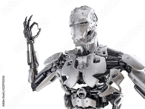 Fotografia, Obraz  Robot showing ok gesture