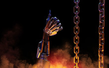 Robot Hand With Digits 2018 Thumb Up Immersed In A Hot Metal Cauldron.  New Year Greeting Card Concept. 3D Illustration.