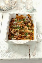 Oven-baked Carp With Chanterelle Mushrooms And Sour Cream