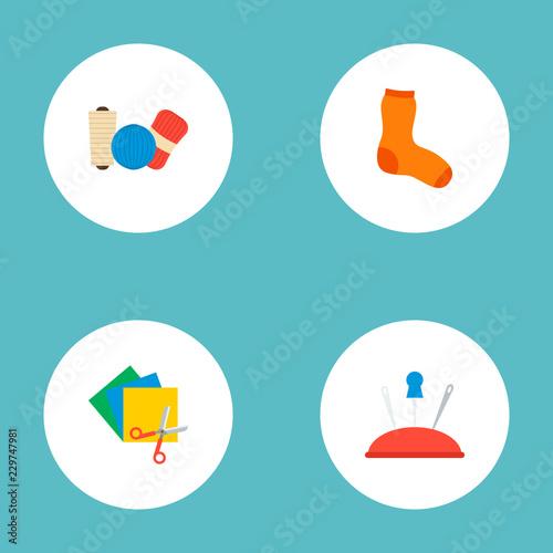 Set of handcraft icons flat style symbols with hosiery, yarn
