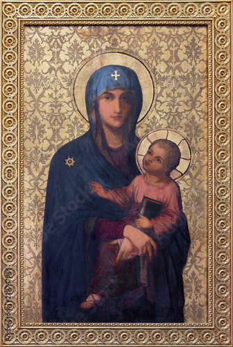 PRAGUE, CZECH REPUBLIC - OCTOBER 13, 2018: The icon of Mary the Mother of God in church kostel Svatého Václava by František Sequens from end of 19. cent.