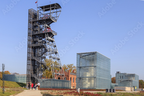 Old miine shaft and a complex of buildings located on the site of  former Katowice Coal Mine, Poland