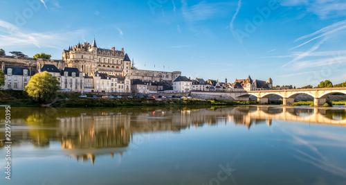Fototapeta Amboise Castle at sunrise over Loire river obraz