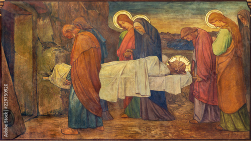 Canvas Print PRAGUE, CZECH REPUBLIC - OCTOBER 13, 2018: The fresco of Burial of Jesus in church kostel Svatého Václava by S