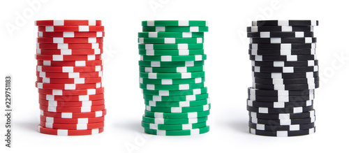 Cuadros en Lienzo A stacks of casino chips isolated on white background