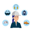 female builder constructor with security equipment
