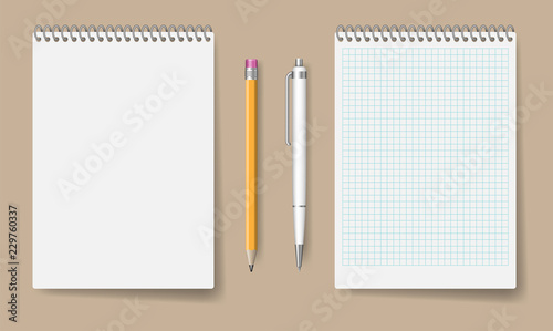 Leinwand Poster Blank spiral notebook mockup for corporate identity and branding