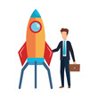businessman with rocket startup