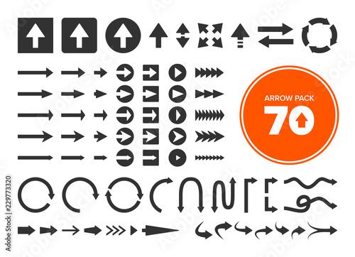Fotografia, Obraz Pack of 70 vector arrows